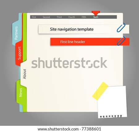 Web site template. Paper style - stock vector