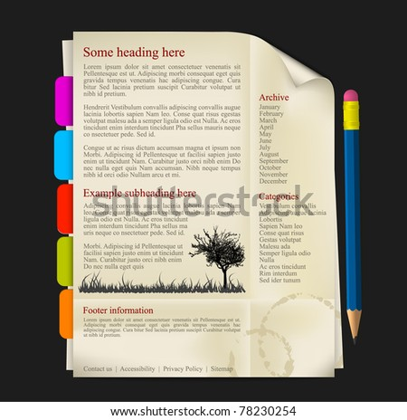Web site template - sheet of paper with tabs and pencil - stock vector