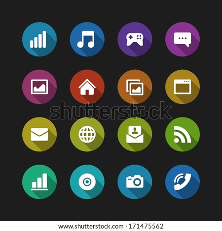 Web site vector icons set shadow effect. Vector design elements for design.