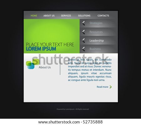 web site vector template in dark