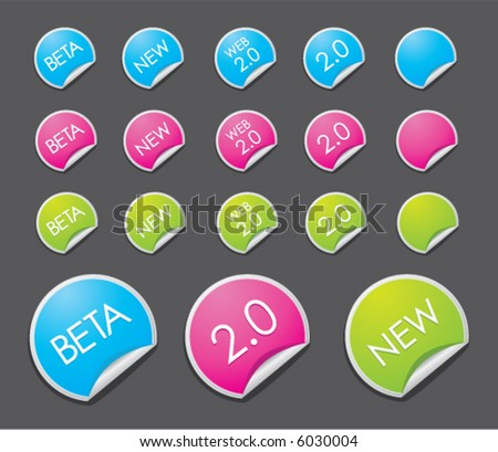 Web 2.0 stickers - insert your own text and customize them! - stock vector