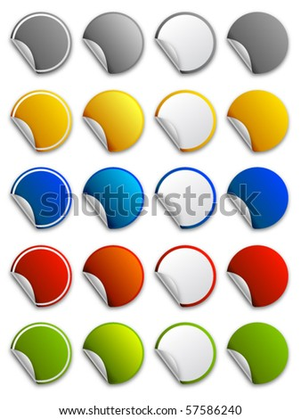 Web stickers, labels and icons - round - stock vector