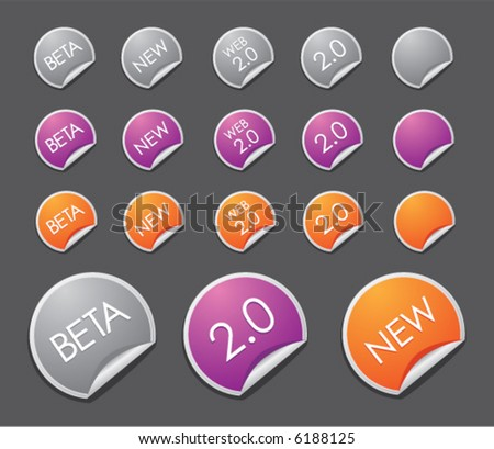 Web 2.0 stickers (set 2) - stock vector