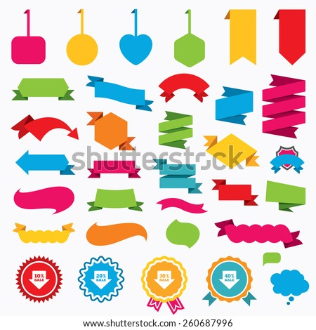 Web stickers, tags and banners. Sale arrow tag icons. Discount special offer symbols. 10%, 20%, 30% and 40% percent sale signs. Speech bubbles and award labels. Vector - stock vector