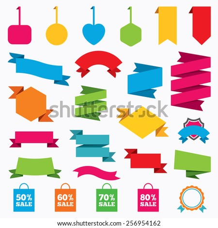 Web stickers, tags and banners. Sale bag tag icons. Discount special offer symbols. 50%, 60%, 70% and 80% percent sale signs. Template modern labels. Vector - stock vector