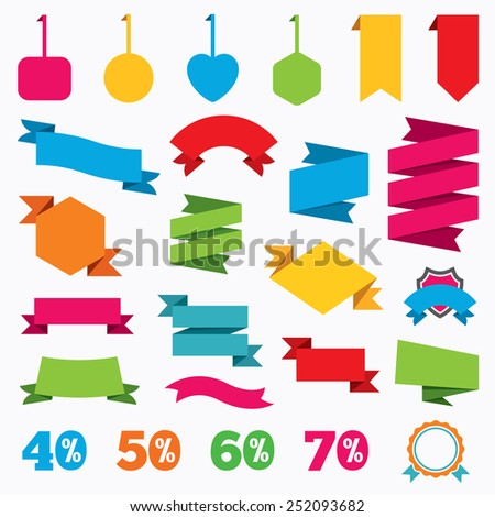 Web stickers, tags and banners. Sale discount icons. Special offer price signs. 40, 50, 60 and 70 percent off reduction symbols. Template modern labels. Vector - stock vector