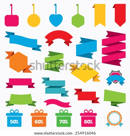 Web stickers, tags and banners. Sale gift box tag icons. Discount special offer symbols. 50%, 60%, 70% and 80% percent discount signs. Template modern labels. Vector - stock vector