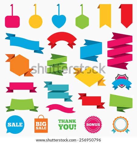 Web stickers, tags and banners. Sale speech bubble icon. Thank you symbol. Bonus star circle sign. Big sale shopping bag. Template modern labels. Vector - stock vector