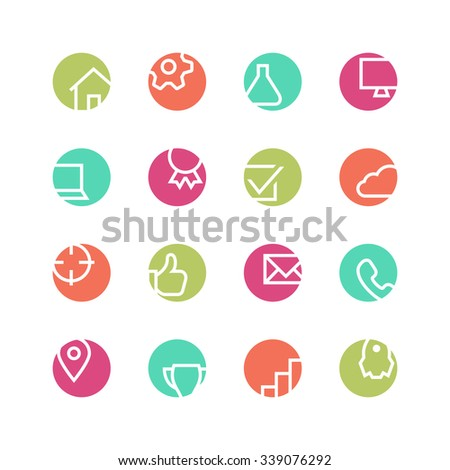 Web studio icon set - vector minimalist. Different symbols on the colored background.