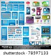 Web Stuff EXTREME Collection: 3 Full websites,hundreds of icons,headers,footers,login forms, paper tag with transparent shadow,stickers,business cards and so on - stock vector