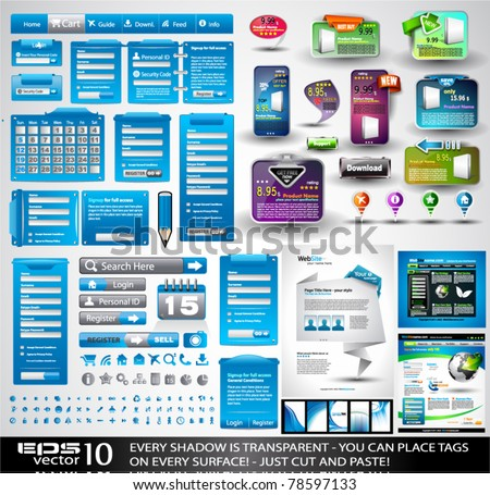 Web Stuff EXTREME Collection: 3 Full websites,hundreds of icons,headers,footers,login forms, paper tag with transparent shadow,stickers,business cards and so on