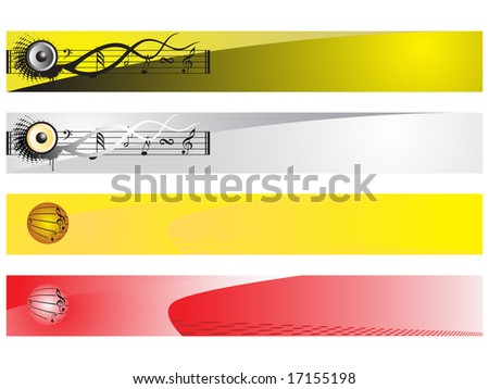 web 2.0 style musical series website banner set 3, illustration - stock vector