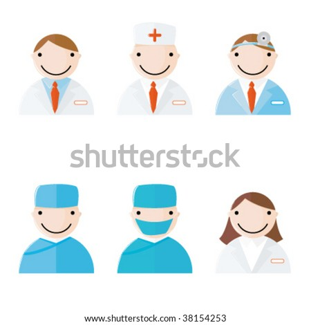 Web 2.0 style vector icons of medical and health care icons