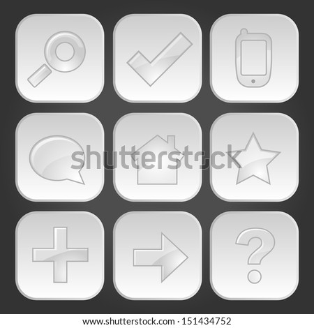 Web technology glossy icons buttons - stock vector