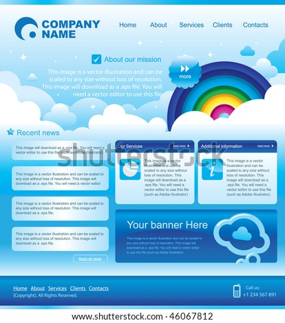 web template design. Skies and rainbow. - stock vector