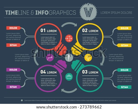 Web Template for circle diagram or presentation with stylized lamps. Business concept with four options. Vector infographic of technology process. Part of the report including logo and icons. - stock vector