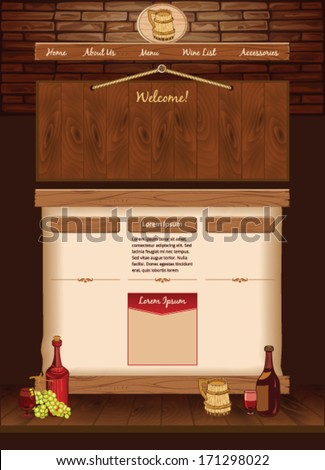 Web template for vintage cafe - stock vector