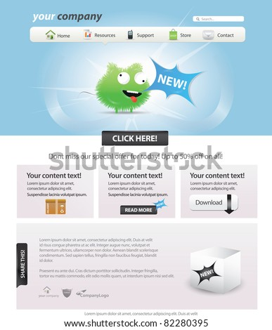 Web 2.0 template - glossy candy look - stock vector