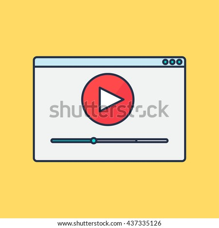 Web Template, Web Elements for site form of watching online video. Vector - stock vector