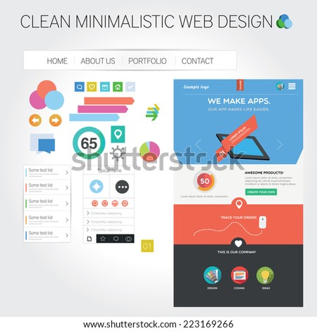 Web template + web graphics - stock vector
