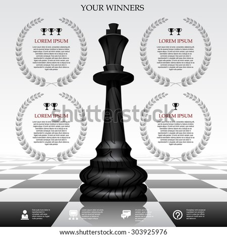 Web template with a black chessman on a chessboard and laurel wreaths. Winner board concept. Vector illustration - stock vector