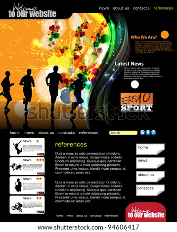 Web template with sport subject - stock vector