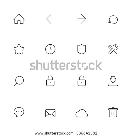 Web Thin Icons - stock vector
