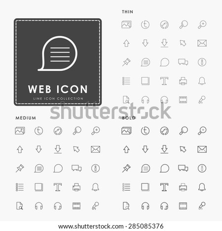 web thin, medium and bold outline icons - stock vector