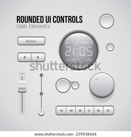 Web UI Controls Design Elements: Buttons, Switchers, On, Off, Player, Audio, Video: Play, Stop, Pause, Volume, Equalizer, Knobs, Progress Bar, Screen, Display