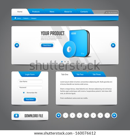 Web UI Controls Elements Gray And Blue On Dark Background: Navigation Bar, Buttons, Login Form, Slider, Message Box, Menu, Tabs, Input Area, Search, Scroll, Download, Tooltip, Pagination, Download  - stock vector