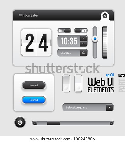 Web UI Elements Design Gray Blue: Part 5 - stock vector