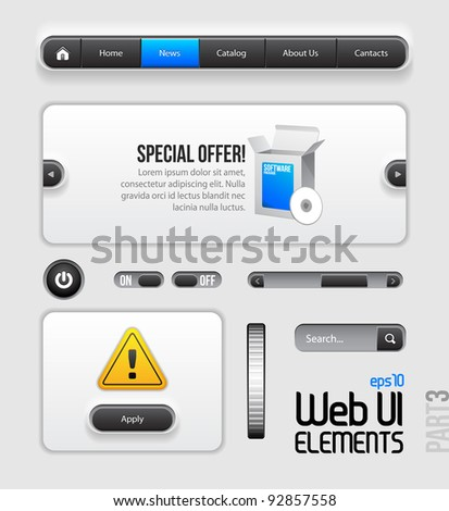 Web UI Elements Design Gray Blue: Part 3 - stock vector
