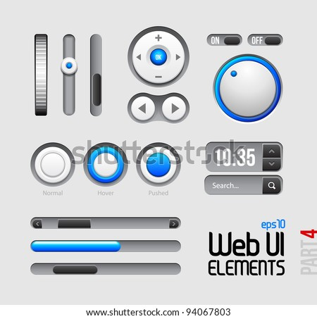 Web UI Elements Design Gray Blue: Part 4 - stock vector