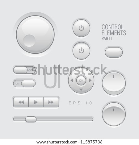 Web UI Elements Design Gray. Buttons, Switches, bars, power buttons, sliders one
