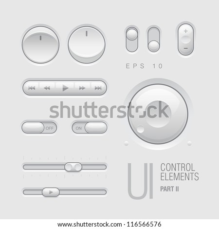 Web UI Elements Design Gray. Buttons, Switches, bars, power buttons, sliders. Part two. Vector illustration - stock vector