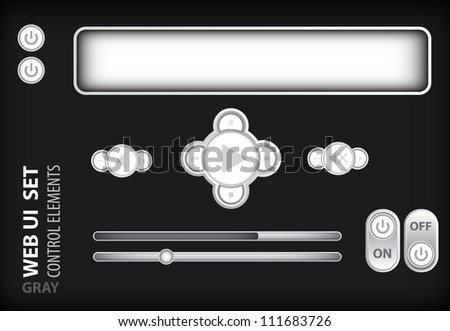 Web UI Elements Gray. Design Elements: Buttons, Switchers - stock vector