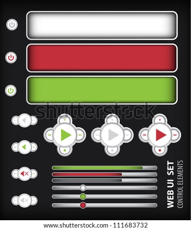 Web UI Elements Three Colors.Colors:Red, Gray, Green.  Design Elements: Buttons, Switchers - stock vector