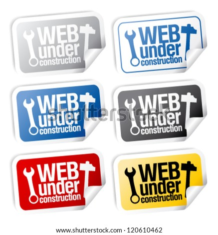 Web under construction stickers mega pack. - stock vector