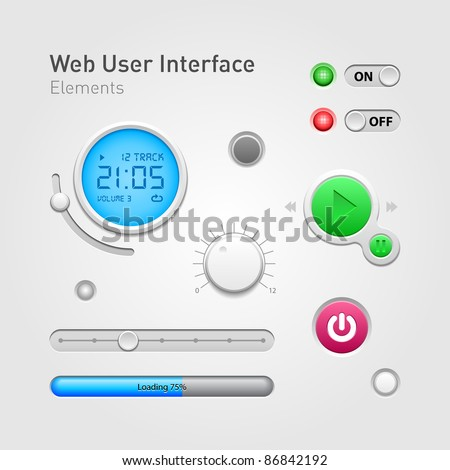 Web User Interface Elements Of Design - stock vector