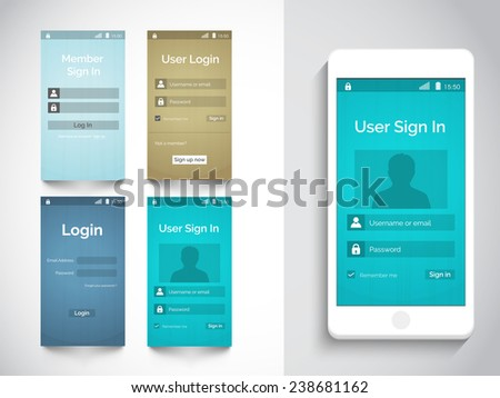Web user interface with login feature in four color choice and smart phone presentation on grey background. - stock vector