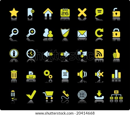 Web Vector Icon Set On Black Background - stock vector