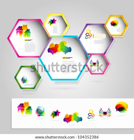 Web windows with colorful icons. Vector illustration. - stock vector