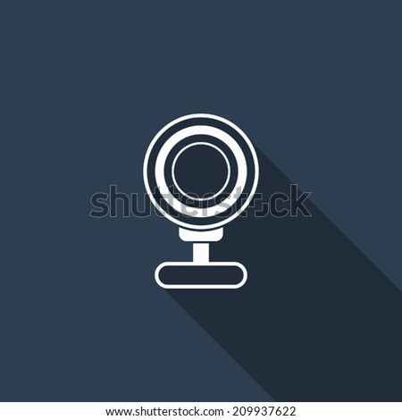 webcam icon with long shadow - stock vector