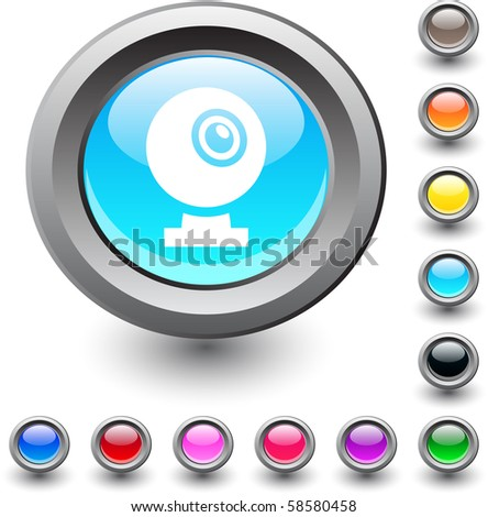 Webcam  metallic vibrant round icon. - stock vector
