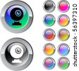 Webcam multicolor glossy round web buttons. - stock photo