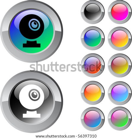 Webcam multicolor glossy round web buttons. - stock vector