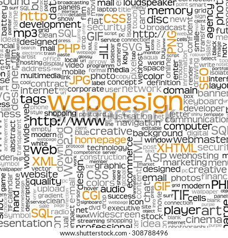 Webdesign Keyword Tag Cloud with Many Specific Web Design Words - Word Cloud - Vector Background - SEO, HTML, PHP, CSS, JPG, SQL - stock vector