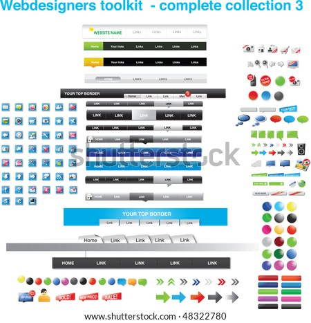 Webdesigners toolkit - complete collection 3 - stock vector