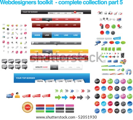 Webdesigners toolkit - complete collection part 5 - stock vector