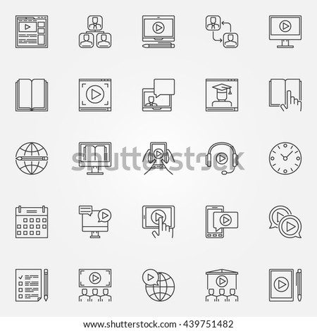 Webinar and online education icons. Vector set of thin line training courses symbols or logo elements. Online e-learning signs - stock vector